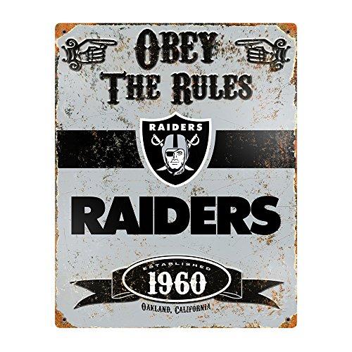 Party Animal NFL Embossed Metal Vintage Oakland Raiders (Baseball Metal Sign)