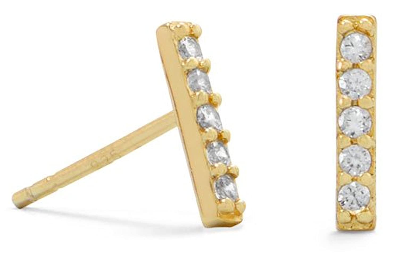 1.8 x 9.7mm Mini CZ Bars 14K Gold Plated Sterling Silver Post Stud Earrings