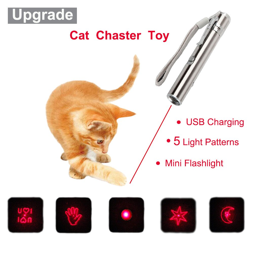Malier Newest Multi-pattern Funny Cat Chaser Toy Interactive Cat Toys Entertain Your Pets Training Tool, USB Rechargeable, Stainless Steel Body, Portable