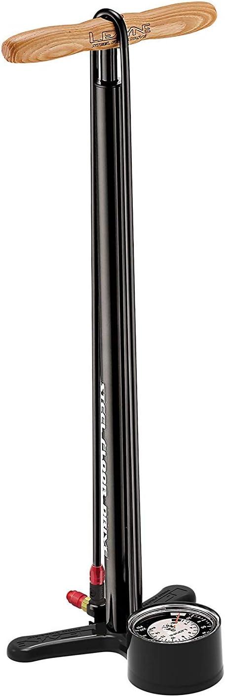 LEZYNE Steel Drive Bicycle Floor Pump, High Pressure 220psi, Gauge, Steel Barrel, Bike Pump