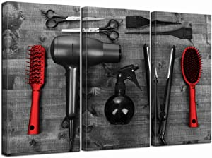 LevvArts - 3 Piece Modern Canvas Painting Barber Shop Wall Art Vintage Hair Cutting Tools on Wooden Board Picture Prints Black and Red Artwork for Home Salon Bathroom Living Room Wall Decor
