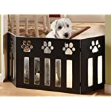 Wood Paw Print DÉcor Pet Gate Black