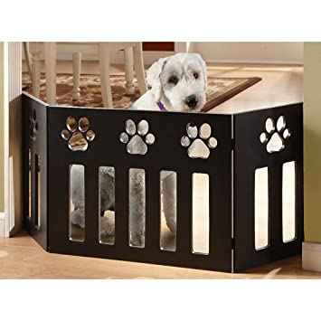 wooden pet gate free standing pet store wooden paw decor gate black amazoncom black baby