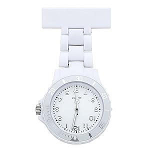 JSDDE Women's Girls' Fashion Nurse Clip-on Fob Brooch Lapel Hanging Pocket Watch, White