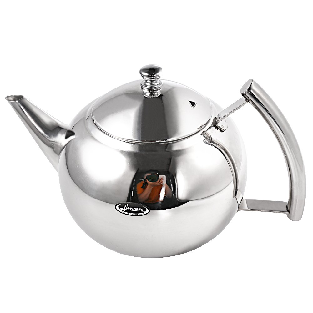 Tea Pot [Small, 33 Ounces(1.0 Liter)], Newness Polished Stainless Steel Teapot with Lid, Tea Kettle for Home, Teapot with Tea Filter