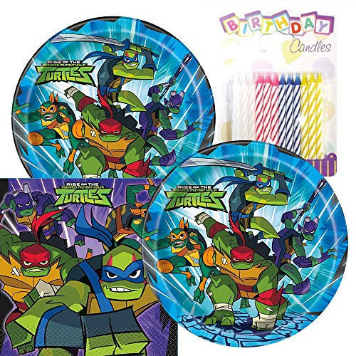 Teenage Mutant Ninja Turtles Party Pack - Includes Paper Plates & Luncheon Napkins Plus 24 Birthday Candles - Servers 16]()