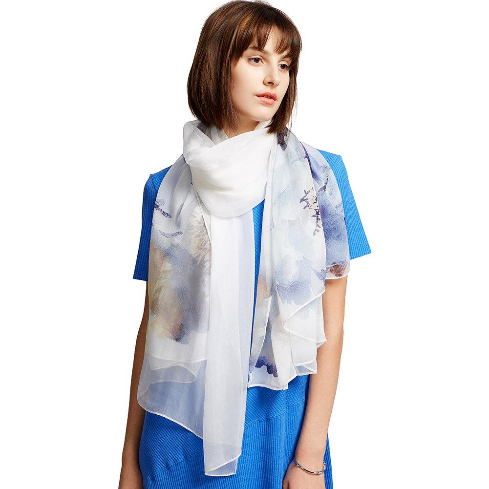Donna Sciarpa di Seta di Lusso di Colore Solido Impacca di Scialle di, 100% Seta HAHS01A011