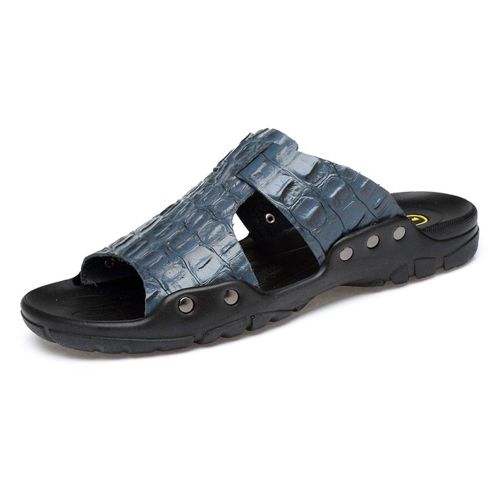 Pantuflas de Hombre Pantuflas de Playa de Cuero de Vaca Genuino Sandalias Casuales Zapatos Antideslizantes con Textura de cocodrilo,para los Hombres 43 EU|Blue