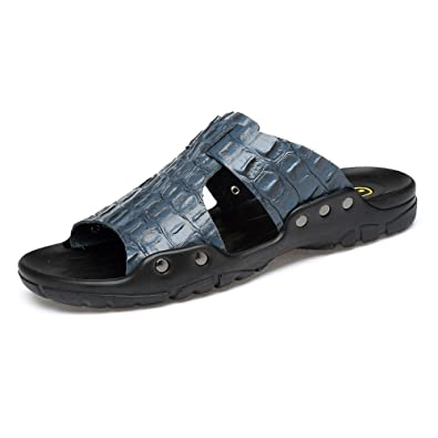 Ruanyi Leder Strand Hausschuhe, Echte Rindsleder Casual Rutschfeste Sandalen Schuhe mit Krokodil Textur für Männer (Farbe : White, Size : 38 EU)