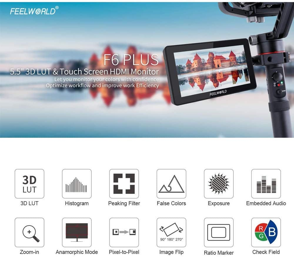 FEELWORLD F6 Plus 5.5Inch 3D Touch Screen Field Monitor On DSLR Camera IPS FHD1920x1080 Support 4K HDMI with Battery F970 and Charger
