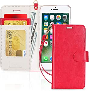 FYY Case for iPhone 7/8/SE 2020, Luxury PU Leather Wallet Phone Case with Card Holder Flip Cover for iPhone 7/iPhone 8/iPhone SE 2020 (2nd Gen) 4.7 inch - Red