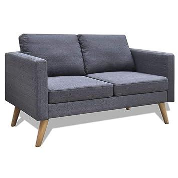 vidaxl canap 2 places tissu gris fonc canap de salon sjour mobilier de salon - Tissu Canape