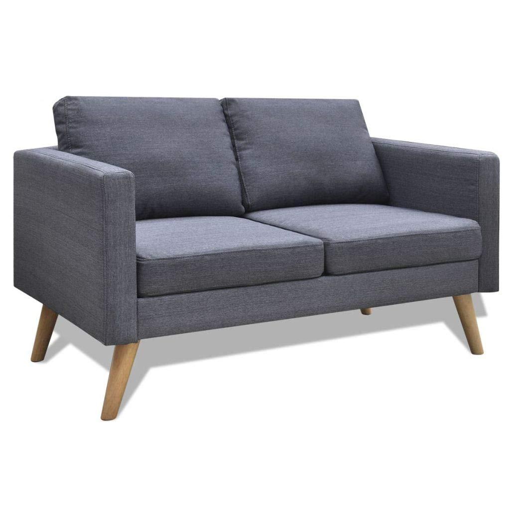 2-Seater Sofa Fabric Dark Gray Wooden Frame Home Office Furniture 46'' x 28'' x 29'' (L x W x H)