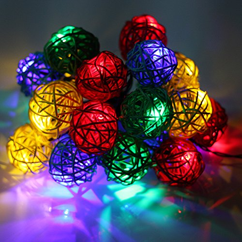 Colorful LED String Lights, LVJING Handmade Rattan Balls Fairy Rope Light Indoor Outdoor Use Battery Powered 13.12FT for Bedroom Christmas Garden Pati…