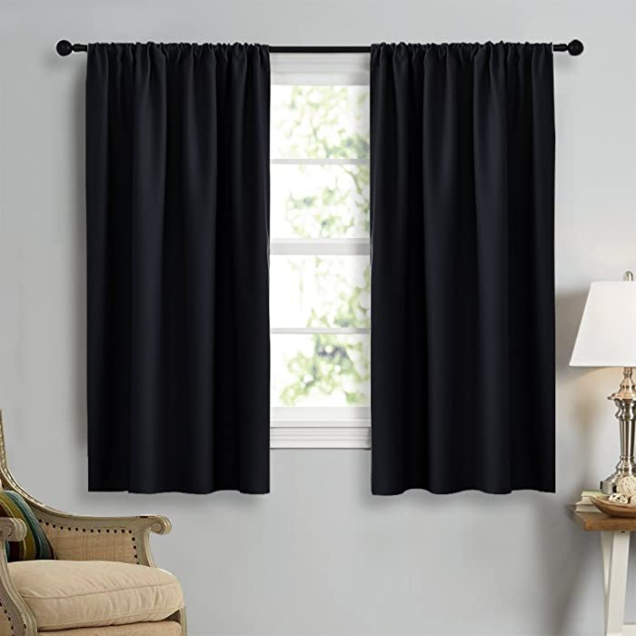NICETOWN Black Out Curtain Panels for Kitchen - Energy Smart Decoration Thermal Insulating Blockout Drapes/Draperies for Small Window (2 Panels, 42 Inch Wide by 45 Inch Long)