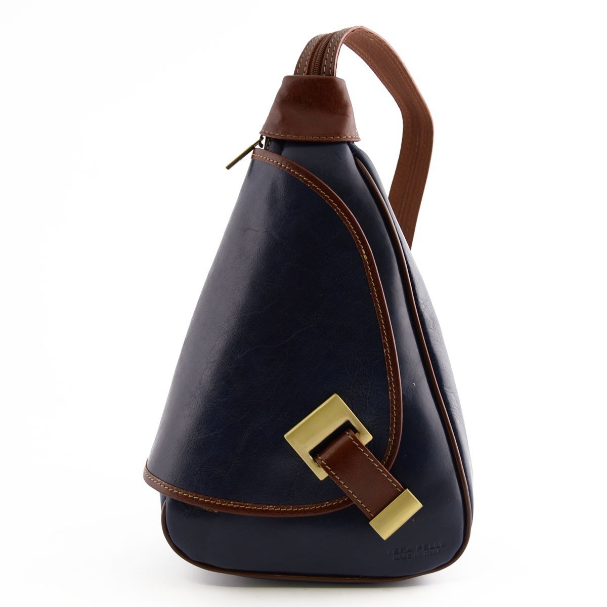 Made In Italy Woman Leather Backpack Color Blue And Brown - Backpack   B016VSTI84