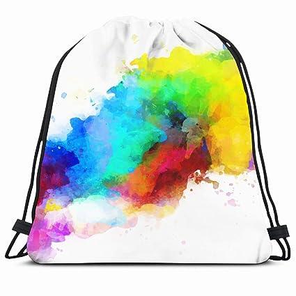 89e077da6be9 Amazon.com   Ahawoso Drawstring Backpack String Bag 14X16 Blue Spray ...