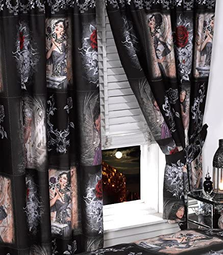 """66/""""x72/"""" STORY OF THE ROSE CURTAINS /& TIE-BACKS ALCHEMY GOTHIC MASK BLACK RED"""