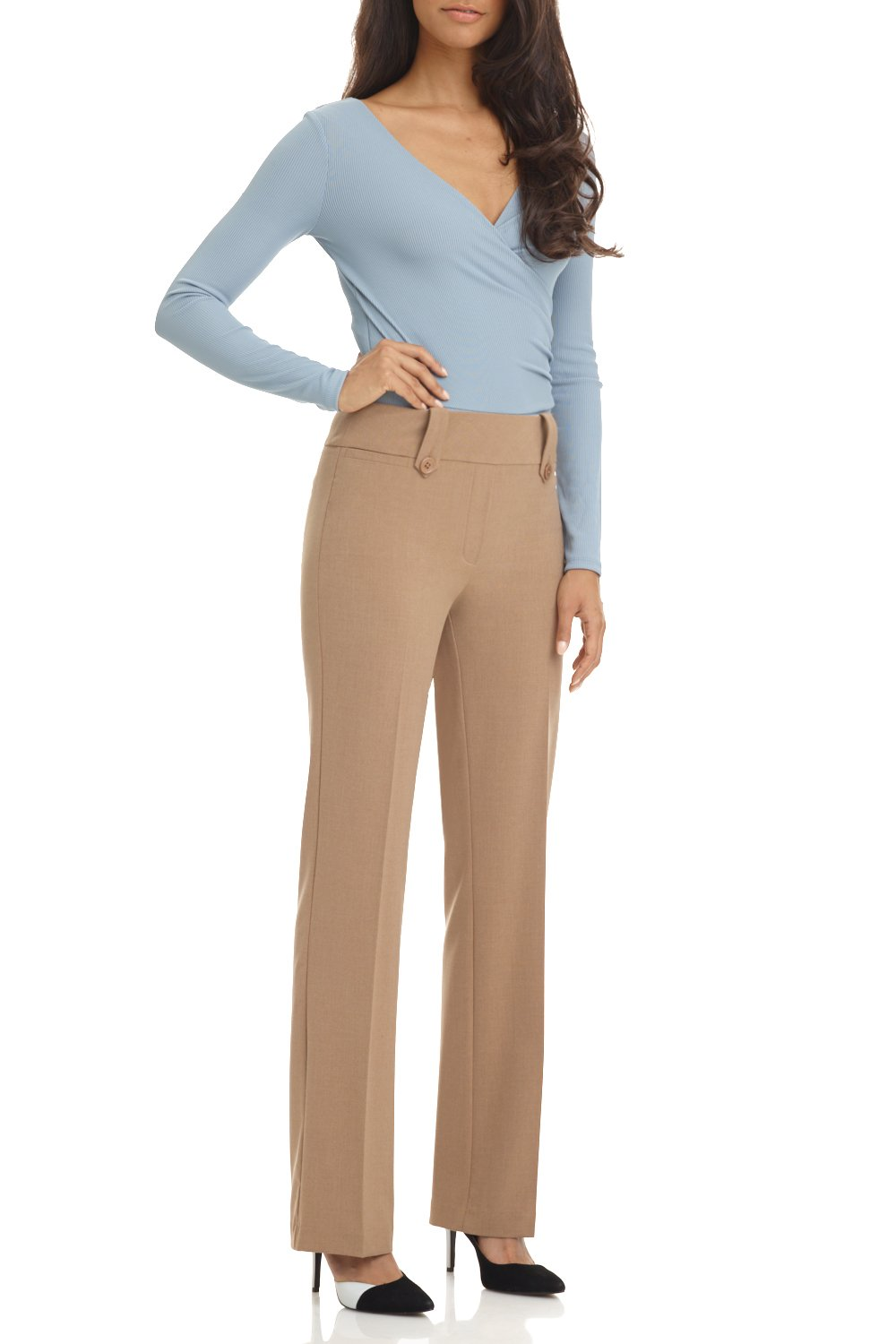 Rekucci Women's Smart Desk to Dinner Stretch Bootcut Pant w/Tummy Control (10,Taupe Mix)
