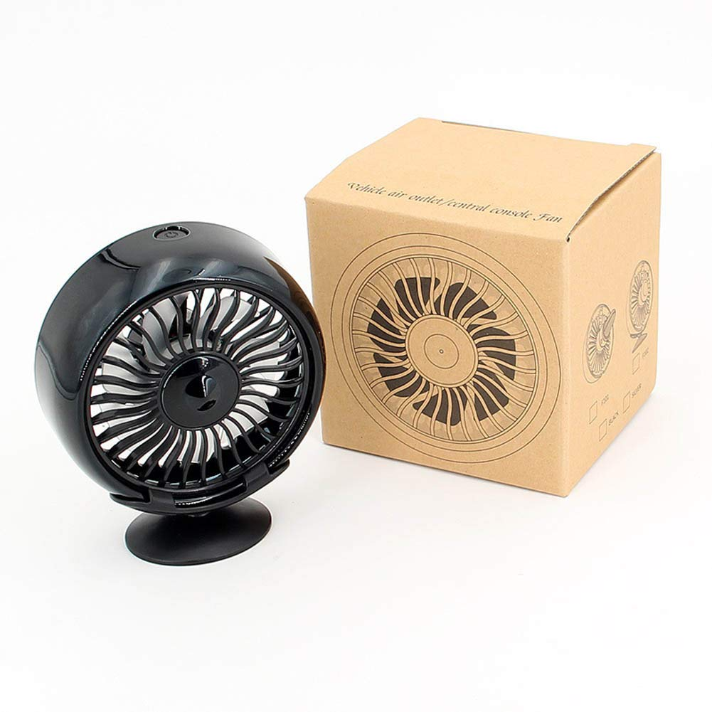 air Outlet can be rotated PinShang Auto Accessory 12V Electric Car Fan 360 Degree Rotatable Car Auto Cooling Air Circulator Fan Center Console Black