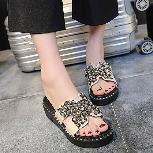 And Diamonds Outer Sandals Wear WHLShoes Comfortable Sandals Bottom Wear Female Muffin Slippers Black Summer Wild Women'S Leisure rXXz7qB
