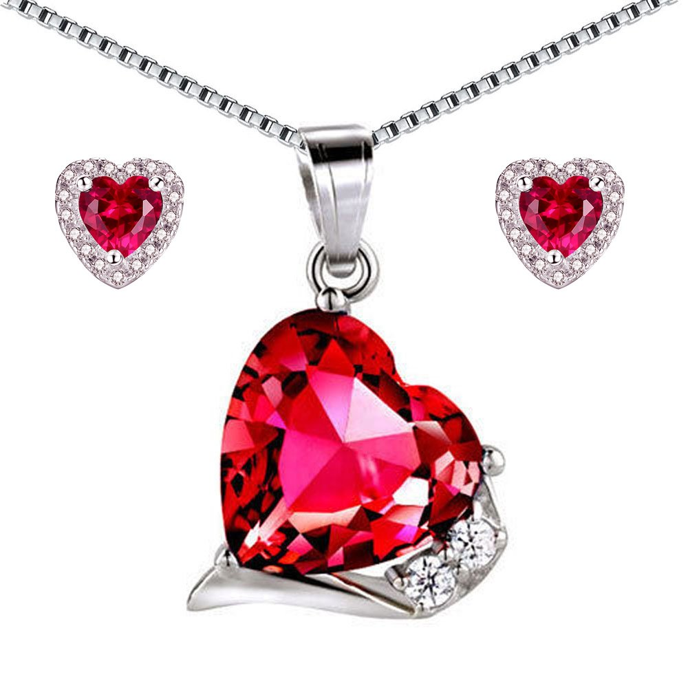 Mabella Sterling Silver Heart Jewelry Sets 7 CTW Simulated Ruby Pendant Earrings Set, Gifts for women