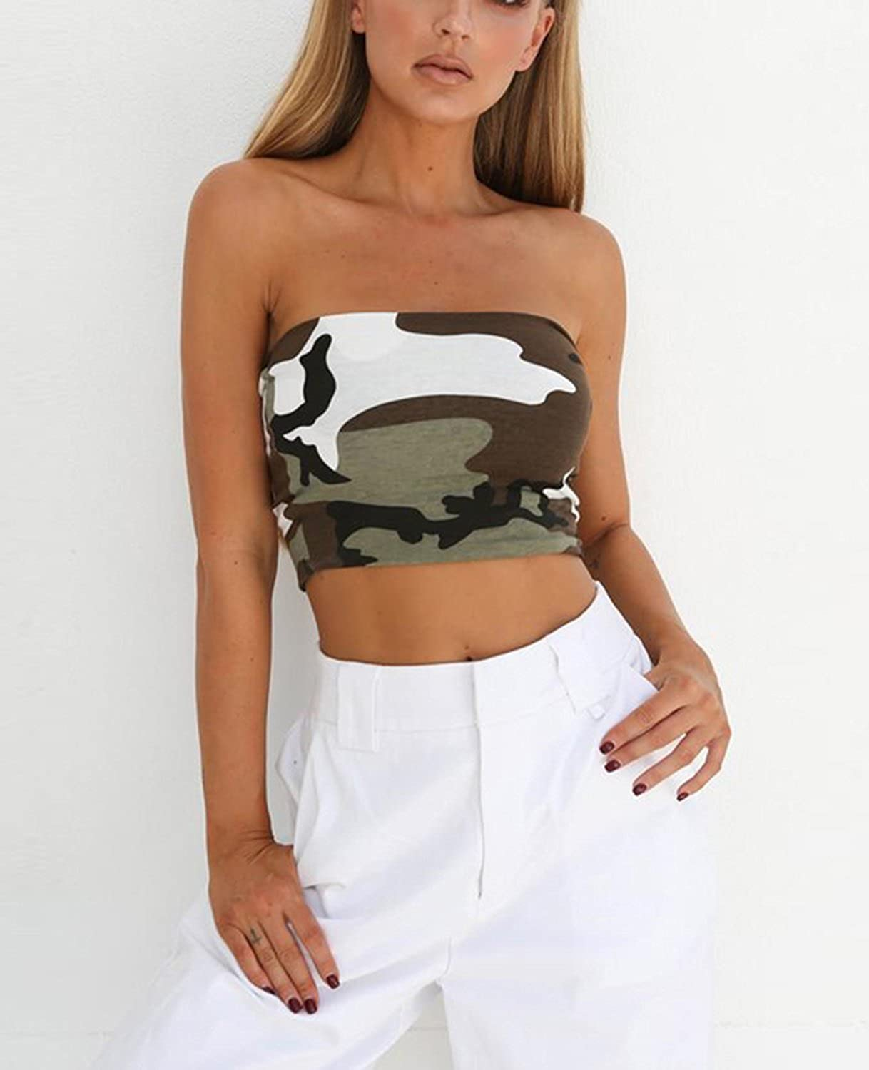ebde3d64b6c WIFORNT Women Camouflage Strapless Bandeau Tube Crop Tops Bra Sexy Breast  Wrap Cami Tops at Amazon Women s Clothing store