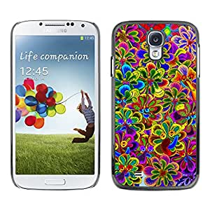 Exotic-Star ( Vibrant Spring Violet Yellow Purple ) Fundas Cover Cubre Hard Case Cover para SAMSUNG Galaxy S4 IV / i9500 / i9515 / i9505G / SGH-i337