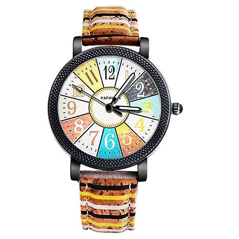 Slri SIridescentZB Reloj Mujer Rayas Vintage, Banda de Piel sintética, Cuarzo analógico número árabe