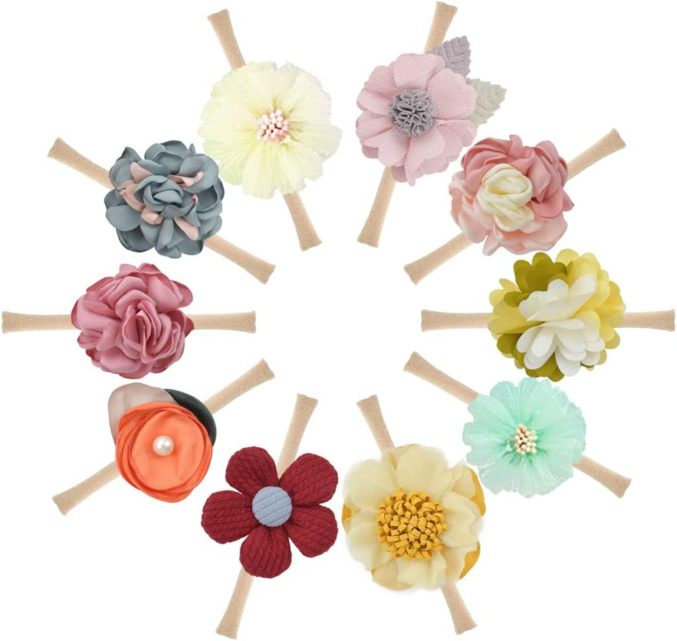 Newborn Baby Girls Floral Headbands and Bows,10PCS Nylon Hairbands Flowers Elastic Bands for Infant Toddler Hair Accessories