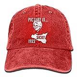 portable washing machine samsung - Picture IT - Sicily 1922 Unisex Flat Bill Hip Hop Cap Baseball Hat Head-Wear Cotton Trucker Hats Red