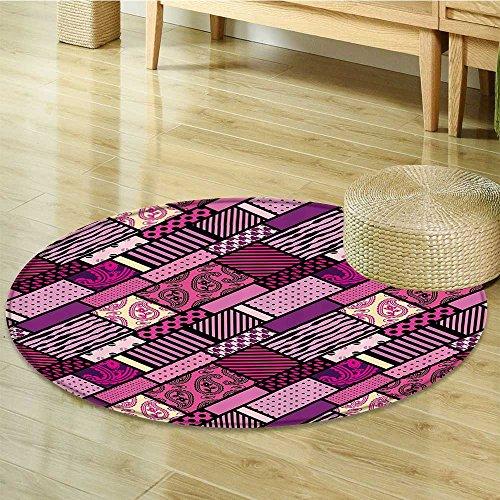 Magenta Decor Circle carpet by Nalahomeqq Patchwork Polka Dots and Paisley Leaf Straight Lines Mix Complex Pattern Fabric Room Decor non-slip Plum Purple-Diameter 60cm(24