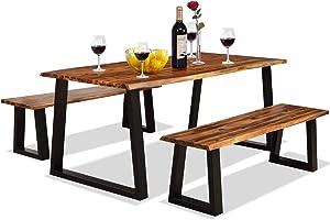 Giantex 3PCS Wooden Dining Set Bench Chair Rustic Indoor &Outdoor Furniture (Rustic Brown&Black)