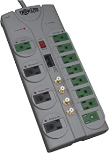 Tripp Lite 12 Outlet (8 Energy Saving) Surge Protector Power Strip, 10ft Cord, Right-Angle Plug, & $250,000 INSURANCE (TLP1210SATG)