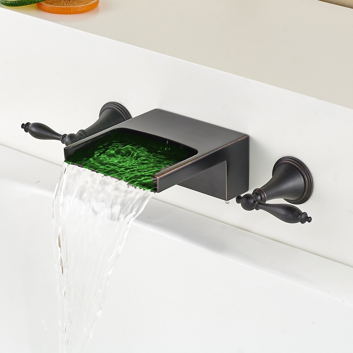 Oulantron Oil Rubbed Bronze LED Colors Bathtub Faucet Wall Mounted ...