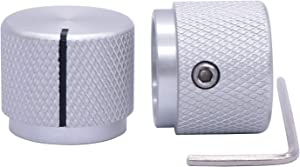 Taiss/ 2pcs Silver Color Aluminum Rotary Electronic Control Potentiometer Knob for 6 mm Diameter Shaft, Volume Control Knob, Audio knob, Guitar Knob,Switch Knob, 20mm Dia. x 17mm Height