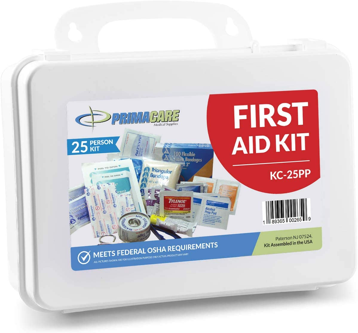 Primacare 25 Person Medium Emergency Preparedness First Aid Kit for Home, School and Office, Wall Mounted