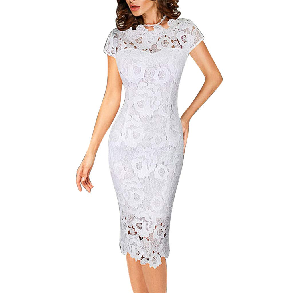 Fashion Women Wrap Dress Solid O-Neck Short Sleeve Bodycon Dress Lace Hollow Pencil Skirt Plus Size (XL, White)