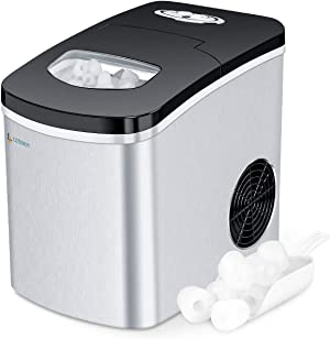 LITBOOS Portable Ice Maker Machine for Countertop, 9 Bullet Ice Cube Ready in 7-9 Mins, 26 lbs/24H Production, Electric Icemaker with Scoop and Basket, Stainless Steel