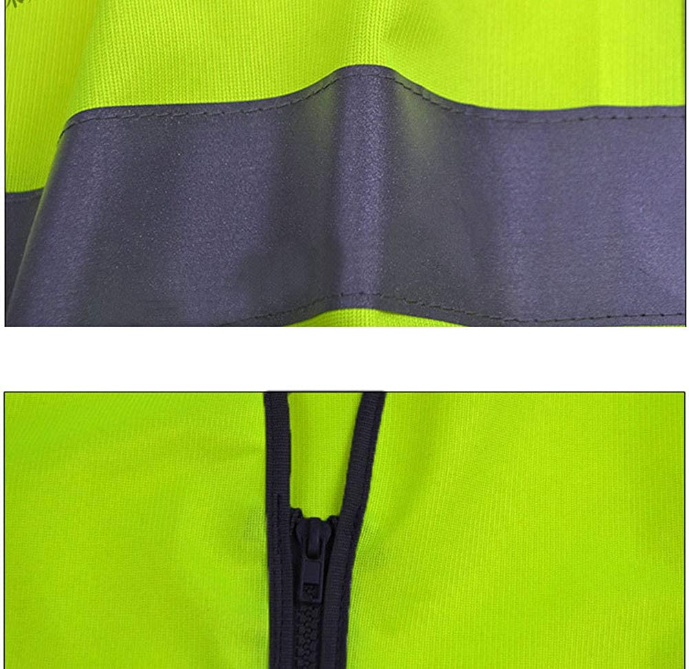 BAOSHI1 Unisex Sleeveless Zipper Neon Safety Vest,High Visibility Safe Work Construction Traffic Clothes High Visibility Safe Work Construction Traffic Clothes One Size Fluorescent Green