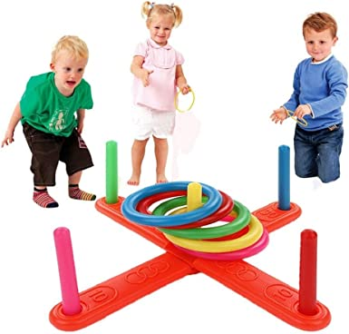 CHILDREN KIDS PLASTIC RING TOSS GARDEN SUMMER GAME TOY FUN HOOP THROWING SET