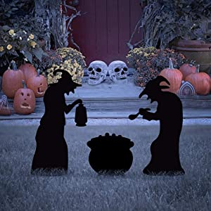 EPROSMIN Halloween Yard Signs with Stakes - Halloween 2 Witches with Black Cauldron Silhouette Yard Stake Signs for Halloween Yard/Lawn Outdoor Decorations