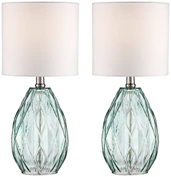 Rita blue green glass table lamp set of 2 amazon rita blue green glass table lamp set of 2 mozeypictures Choice Image