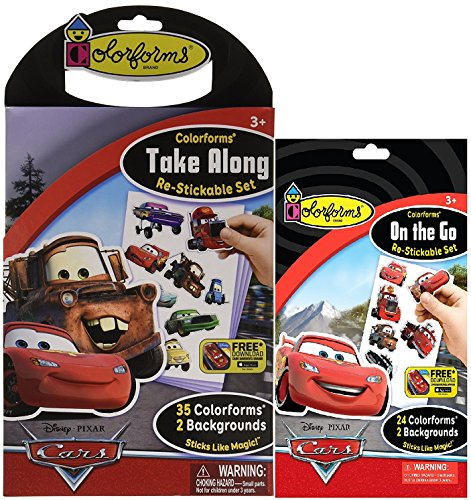 Cars Re-Stickable Sticker Bundle of Two Sets: one 24 Colorgram set and one 35 Colorgrram set - 35 Piece Sticker Set