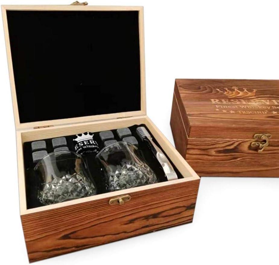 Accesorios de whisky Bloque de Bloque de hielo mármol caja de madera Congelado Lujoso Regalo único Set de regalo de piedras de whisky para el regalo de Navidad del novio del padre Conveniente de usar