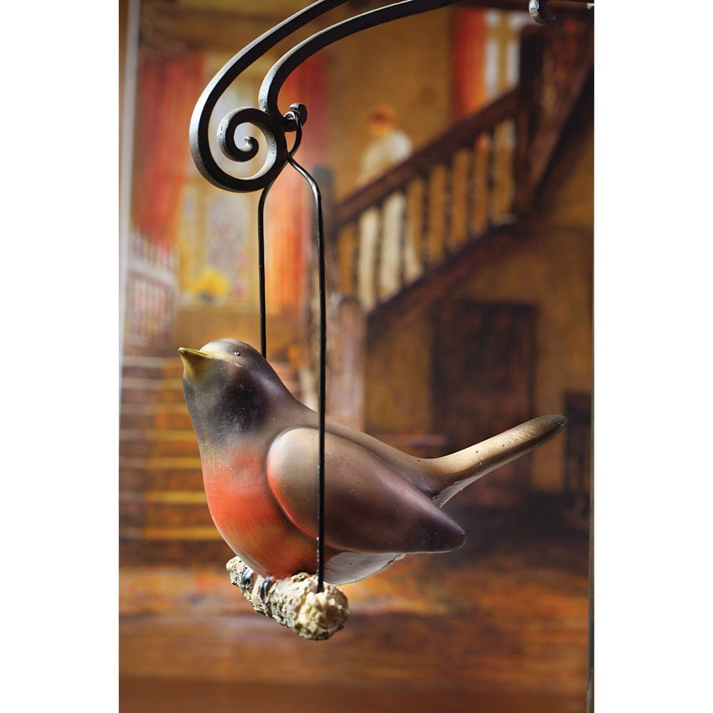 Singing Robin Hand-Painted Hanging Resin Figurine Sculpture