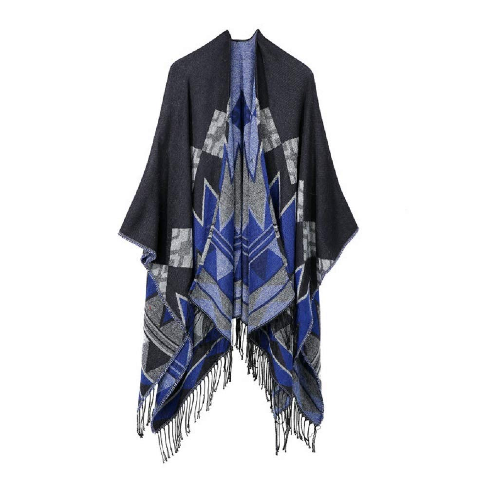 Excellent Women's Fall Winter Scarf Cloak Tassel Cape Mantle Scarf Quick Flaccid Kerchief Wrap Shawl Scarves (Color : Blue, Size : 51.1 x 59.06 Inch') by Excellent