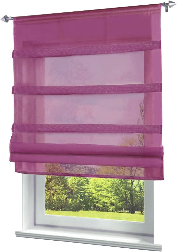 BAILEY JO Stores Romains Transparent Passe Tringle Pan en Forme Triangulaire Rideau Voilage Raffrollo D/écoration de Fen/être Chambre//Salle de Bain//Balcon LxH//60x140cm, Violet 1Pc