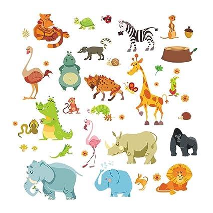 Weaeo Selva Animales Salvajes Adhesivo Pared Bricolaje Para Niños ...