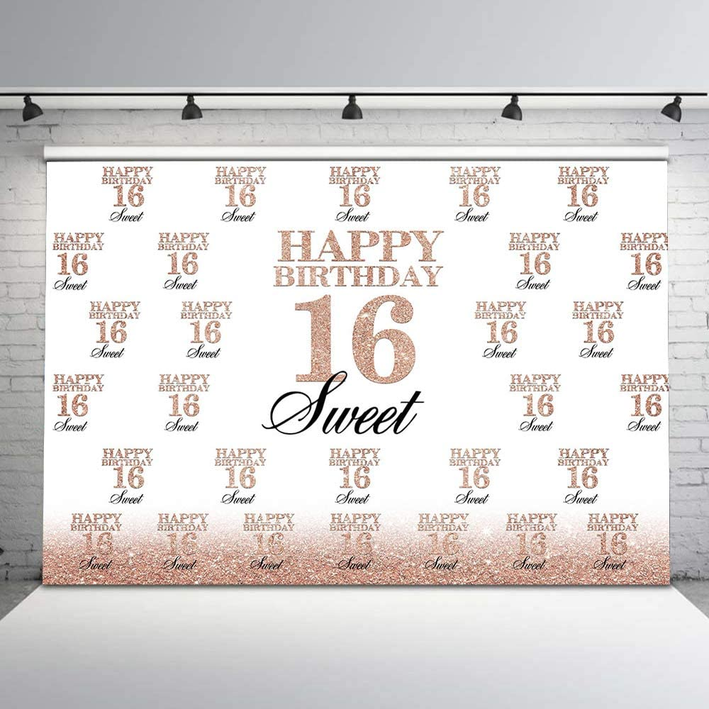 Mocsicka Sweet 16th Birthday Backdrop Rose Gold Step and Repeat 16th Photography Background 7x5ft Happy 16th Birthday Backdrops for Birthday Party Decorations